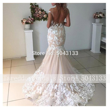 Champagne Mermaid Wedding Dresses 2020 Backless Robe de Mariee Vintage Lace Floral Applique Cap Sleeves Bridal Gowns Formal Long 2