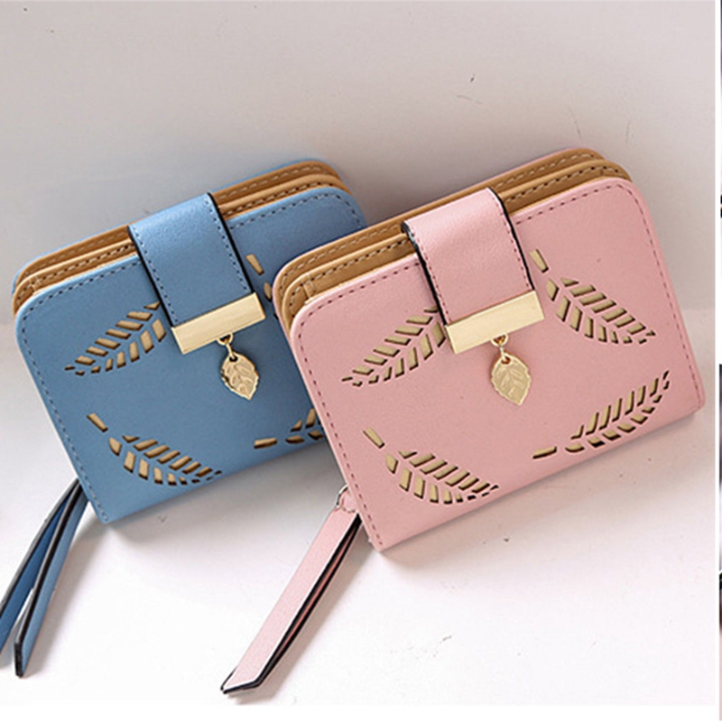 Local Stock New Women Floral Hollow Out Short Wallet Leather Small Clutch Purse Card Holders Hot