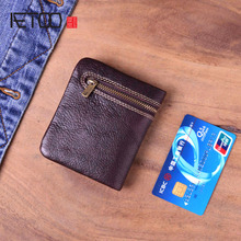AETOO Vintage Handmade Genuine Leather Wallet Coin Purse Men Women Zipper Real Cowhide Short Small Slim Card Holder Case Female цена и фото