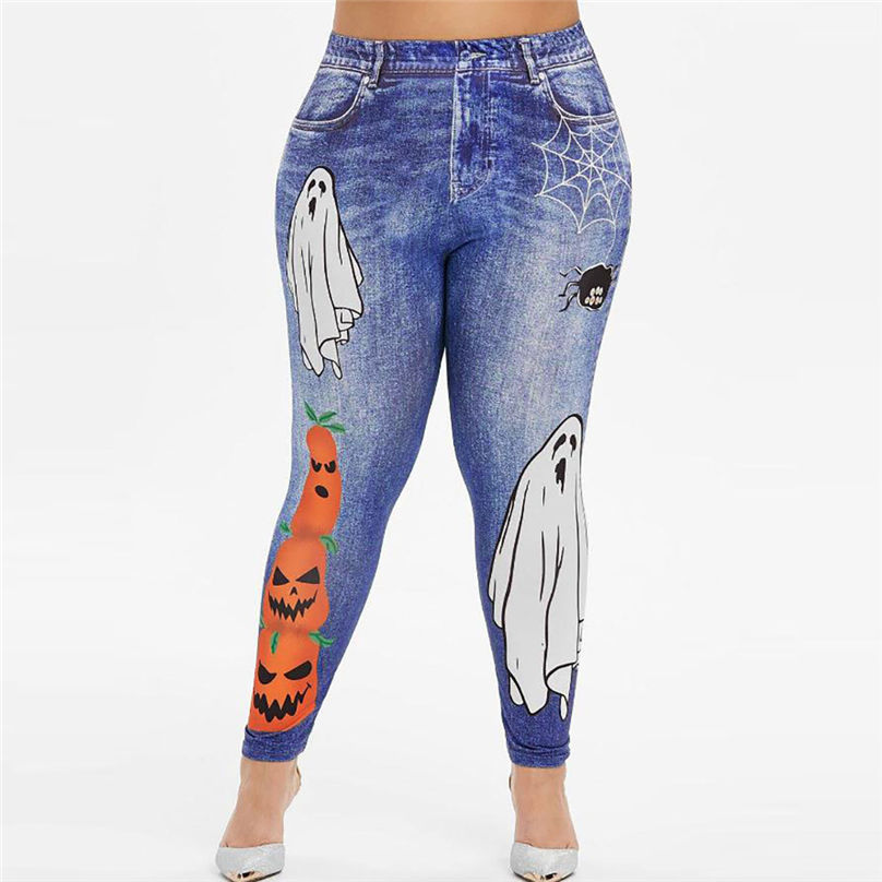 New Fashion Plus Size Halloween Jeans Women Plus Size Spider Pumpkin Halloween Printing Leggings Pants jeans mujer 4A30 (4)
