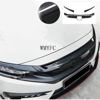 ABS Front Black Grill Headlight Brow Cover Trim For Honda Civic Sedan 2016-2020