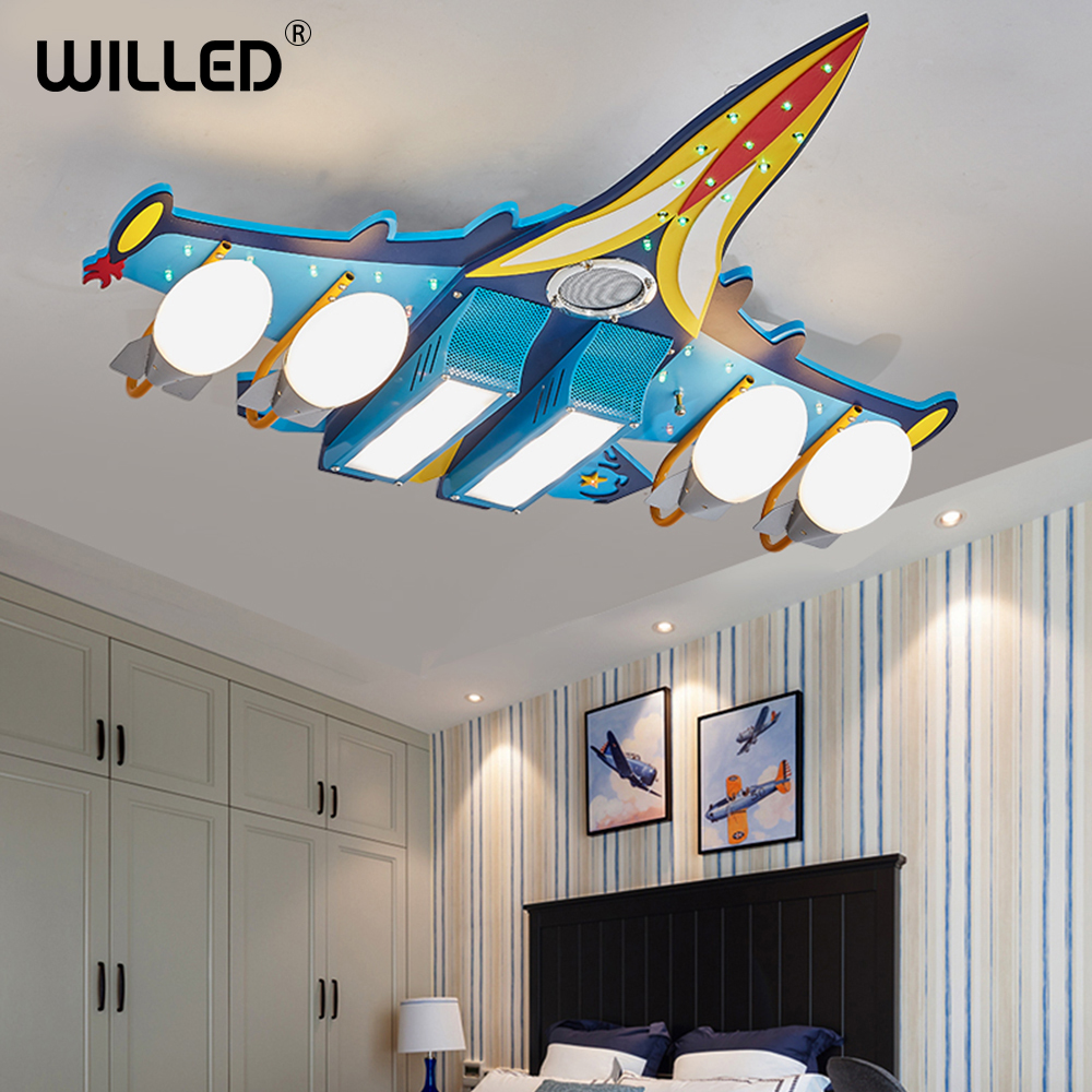 music ceiling lamp cartoon aircraft remote control bluetooth lights living room kids bedroom decorations suspension luminaire