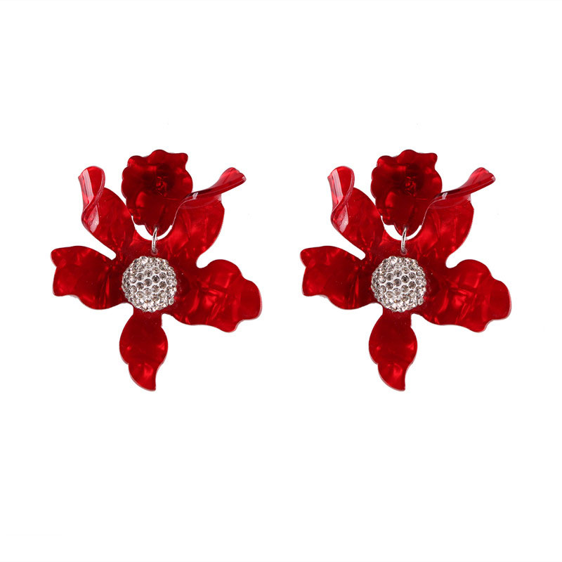 Fashion Red Beaded Drop Earrings Women 2019 Resin Tassel Stone Wedding Jewelry Exquisite Charm Statement New Gift Wholesale in Drop Earrings from Jewelry Accessories
