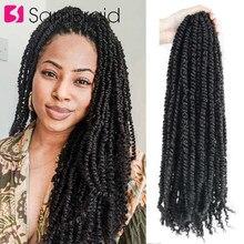 SAMBRAID 16 inç tutku bahar büküm saç uzun siyah Ombre örgü saç uzantıları tığ sentetik örgüler kadın 22 iplikçik