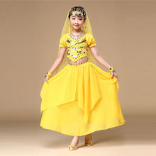 Baby Kids Girls Belly Dance Outfit Costume India Dance Clothes Top+Solid Skirt Children Fashion Cute Outfits Sets Clothes XS-M(China)