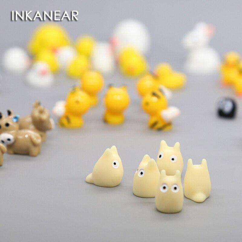 5 pçs mini pintainho coelho vaca ovelha animal micro jardim de fadas miniatura/terrário/suculenta decoração ornamentos diy acessórios