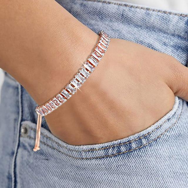 ZHOUYANG Kpop Women's Tennis Bracelet Luxury 2.5*5 mm Multicolor Zircon Bracelets For Women Wholesale Adjustable Jewelry DZH009 2