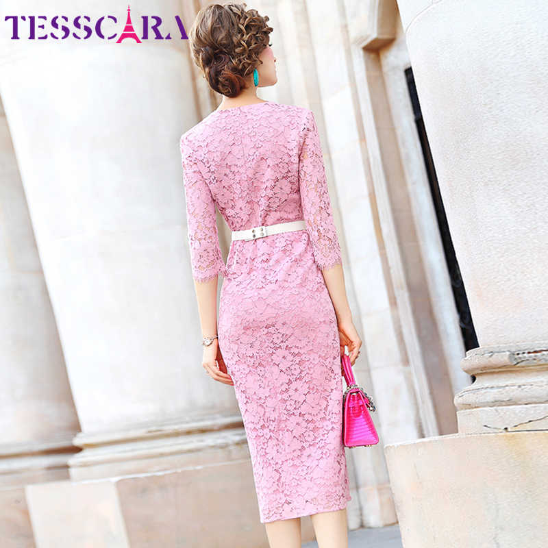 TESSCARA 女性エレガントなブルーレースドレスフェスタ女性パーティーローブ高品質セレブに触発デザイナー膝丈 Vestidos