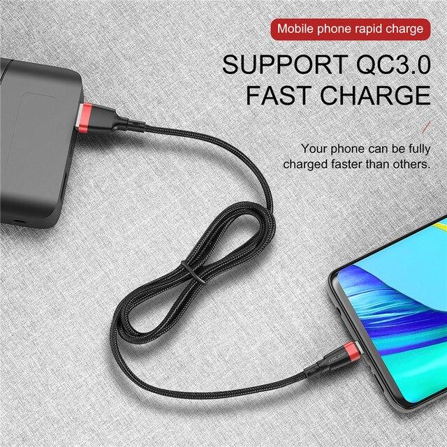 USLION kabel Micro USB 3A szybkie ładowanie kabel USB do transmisji danych Samsung Xiaomi Redmi Note 4 5 Android Microusb szybkie ładowanie 3M 2M