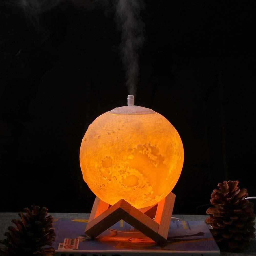880Ml Ultraschall Mond Luftbefeuchter Aroma Diffuser Nebel Maker Humidificador mit Led Nacht Lampe Mit Holz Ständer