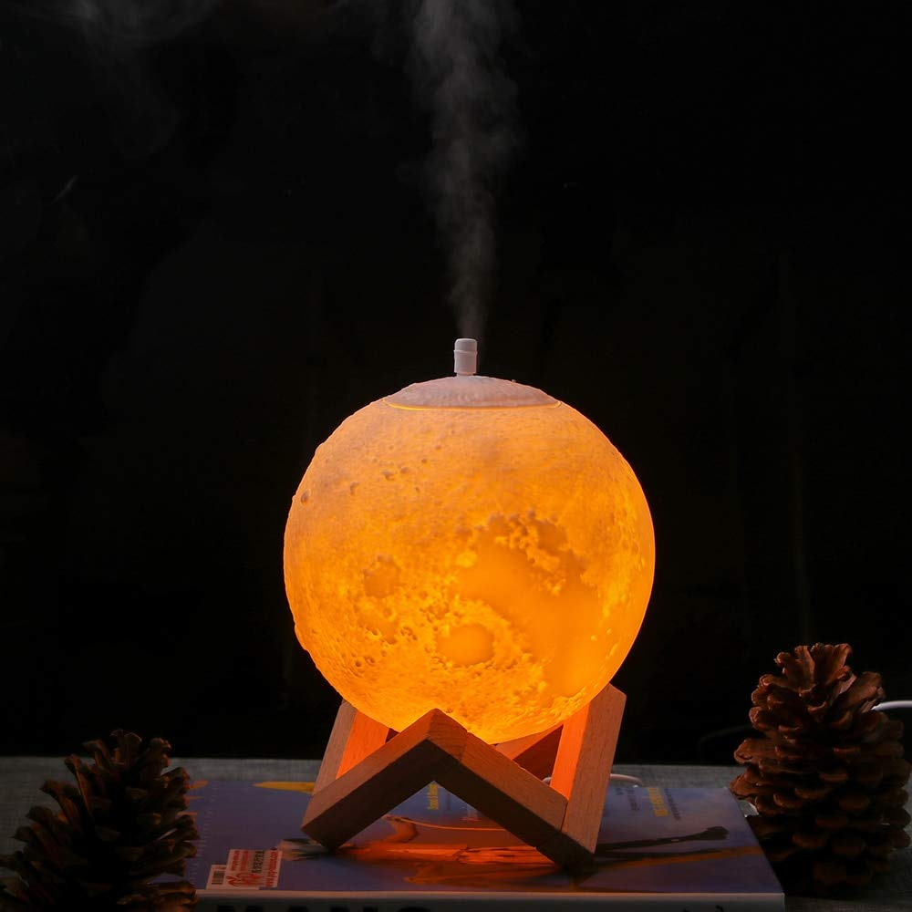 880Ml Ultrasonic Moon Air Humidifier Aroma Diffuser USB Mist Maker Humidificador With Led Night Lamp With Wood Stand