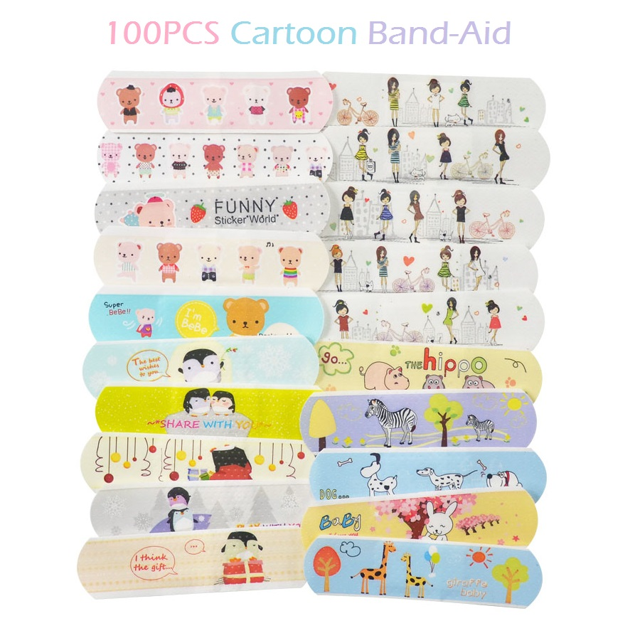 100PCS Waterproof Cute Cartoon Band Aid Hemostasis Adhesive Bandages First Aid Emergency Kit For Kids Children