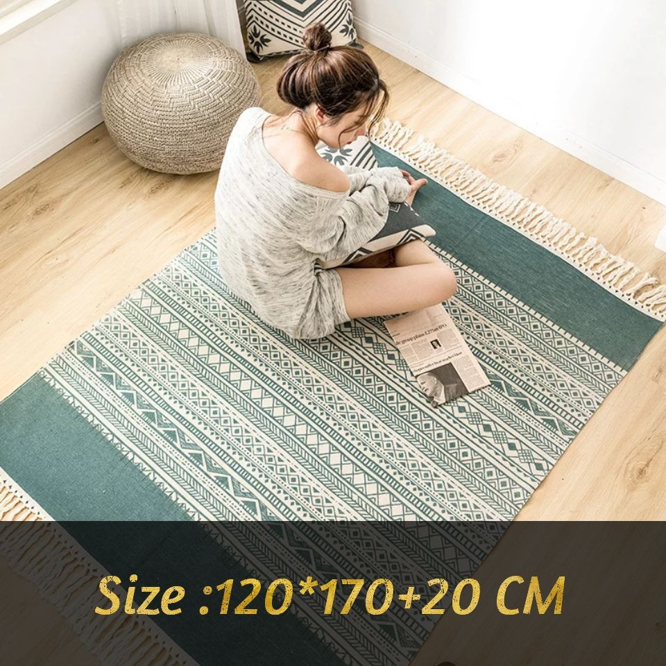 Retro Green Tassel Cotton And Linen Floor Mat Bedroom Hand Made Morocco Geometric Print Large Carpet Area Rugs For Living Room