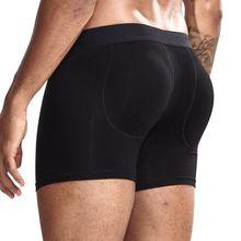 Calzoncillos Bóxer con almohadilla extraíble para hombre, ropa interior, realce de glúteos, pantalones cortos, Sexy