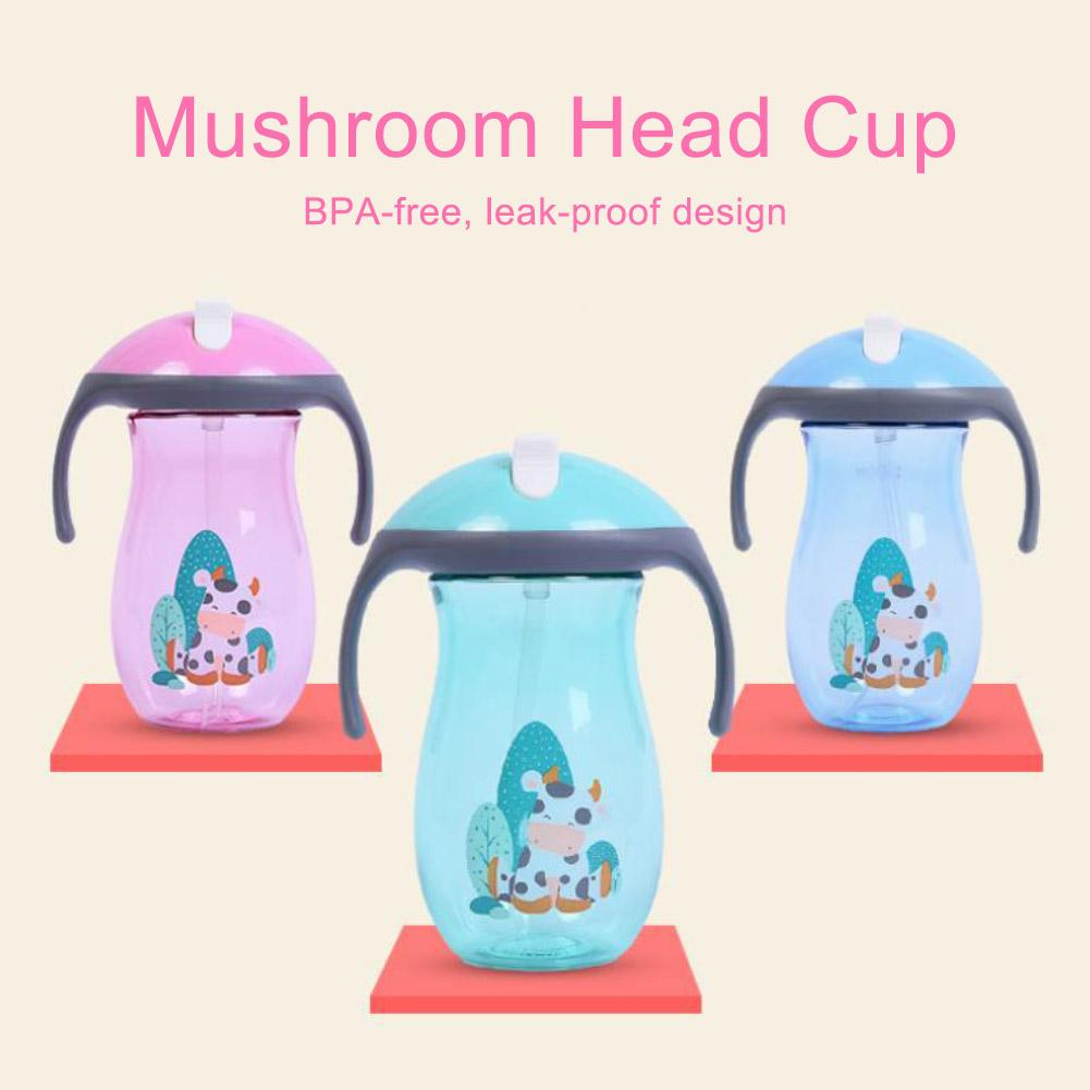 Children Silicone Straw Baby Learning Drinking Cup With Double Handle Flip lid Leakproof Water Bottle Cartoon kids Suction Cup figurine