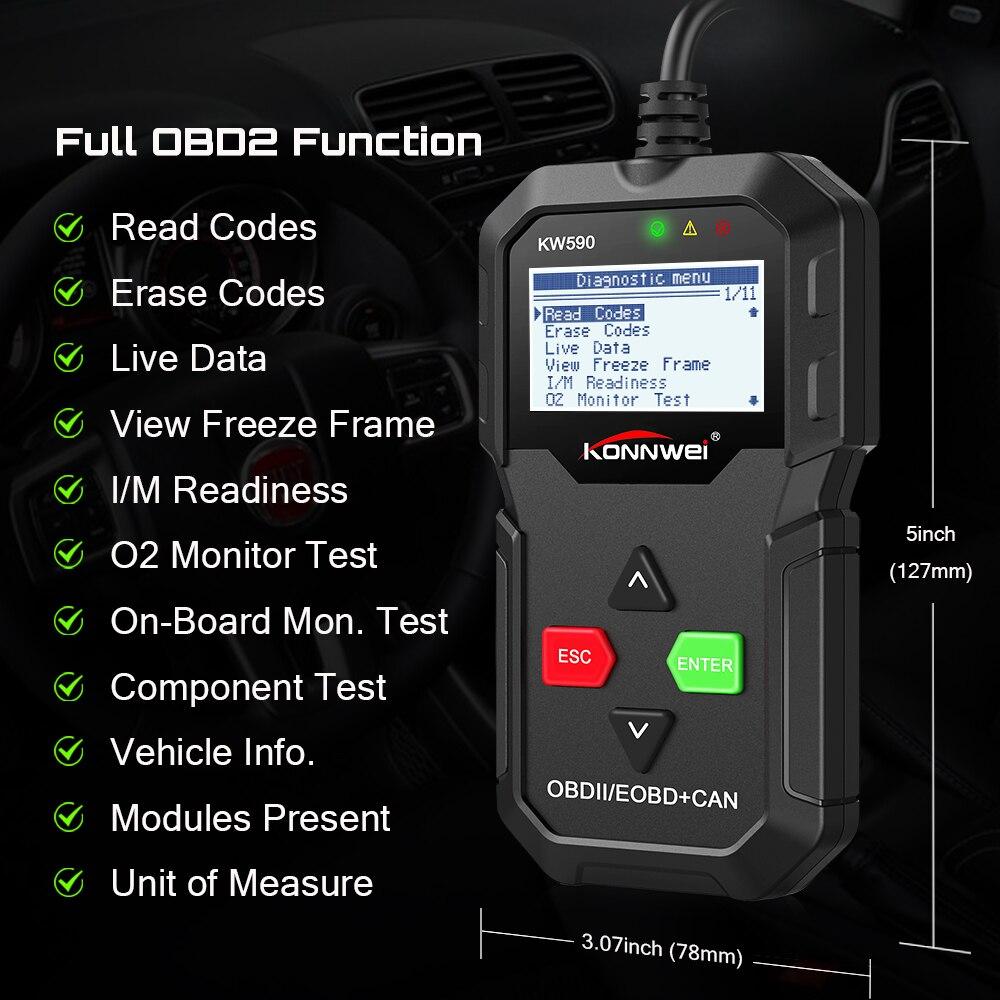 KONNWEI KW590 OBD диагностический инструмент автомобильный считыватель кодов OBD2 сканер Поддержка многобрендовых автомобилей и языков Бесплатная ...