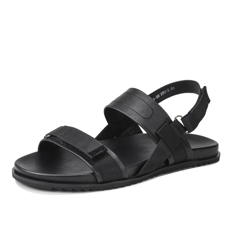 2020 Summer Platform Men Genuine Leather Antiskid Beach Shoes High Quality Roman Sandals Men Open Toe Hook Loop Slippers Male