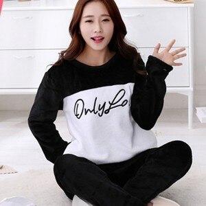Camisetas envío gratis Snow winter XXXXL XL pijamas de franela de Invierno para mujer conjuntos de ropa de dormir de terciopelo pijamas de hogar grueso traje de casa