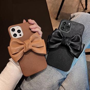 Wysokiej jakości skóra 3D cute cartoon Bowknot miękki futerał na telefon dla apple iPhone 7 8 Plus X XS XR MAX 11 Pro 12 MiNi SE okładka coque tanie i dobre opinie CN (pochodzenie) Częściowo przysłonięte etui Zwykły Silicone leather Plain Animal snakeskin pattern Non-slip Marble Acrylic color bracelet
