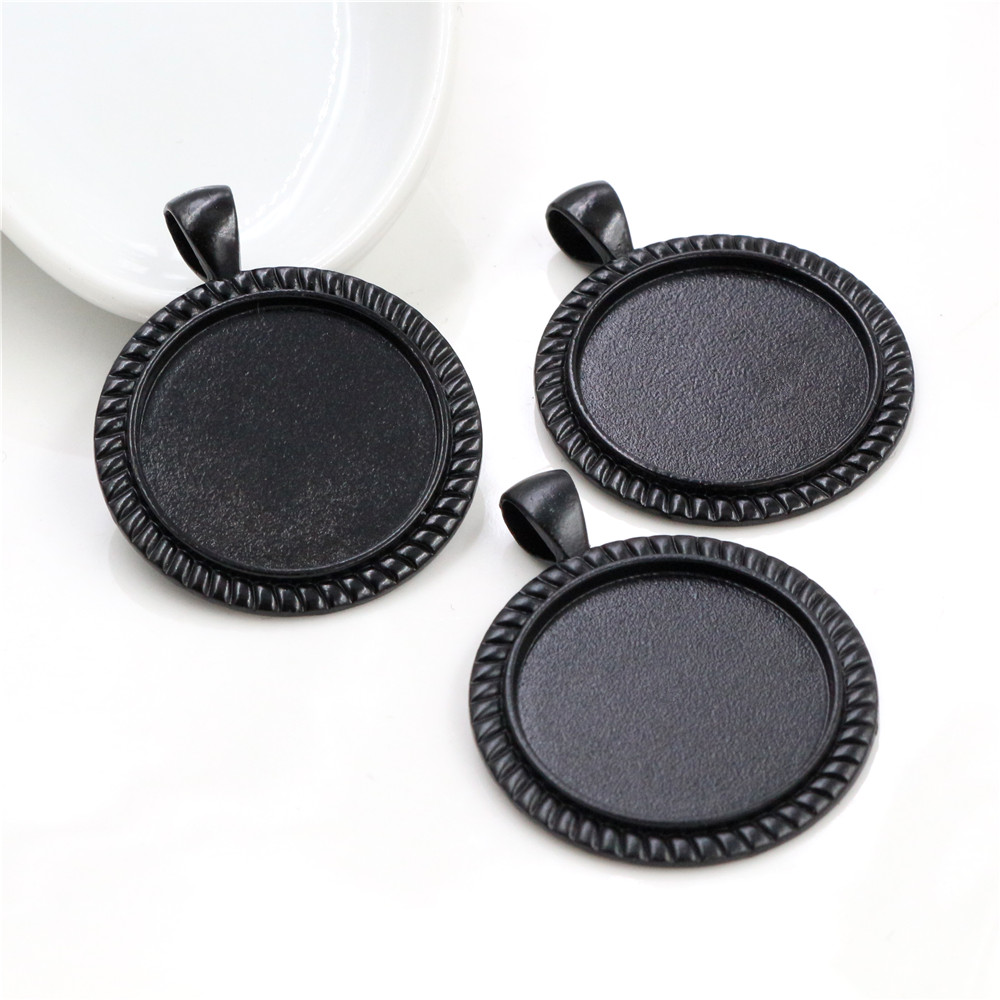 New Fashion 3pcs 25mm Inner Size Black Classical Style Cabochon Base Setting Charms Pendant (A5-26)