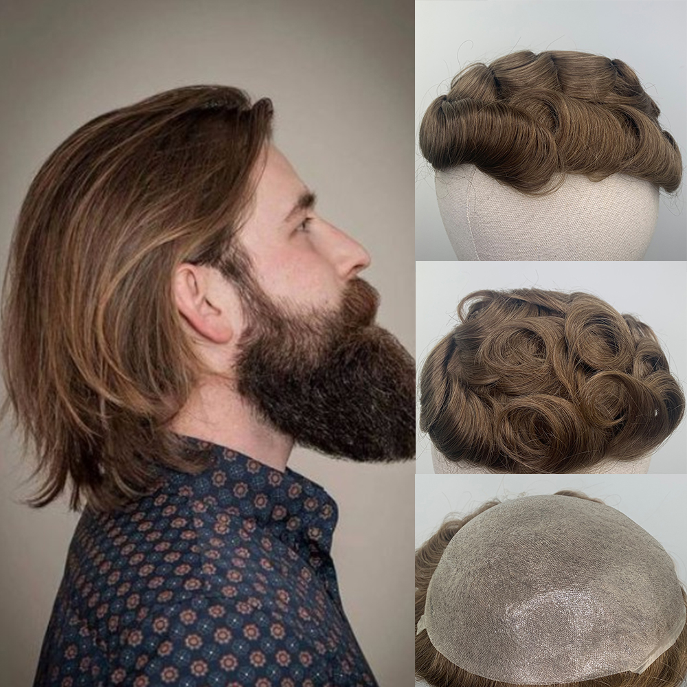YY Wigs 30R Brown Human Hair Men Toupee Skin PU 6 Inch Curly Remy Human Hair Replacement System Hairpiece Soft PU Base