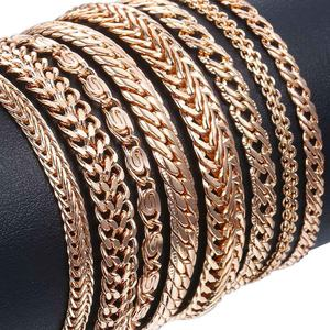 20cm Bracelets For Women Men 585 Rose Gold Curb Snail Foxtail Venitian Link Chains Men's Bracelets Fashion Jewelry Gifts KCBB1(Hong Kong,China)