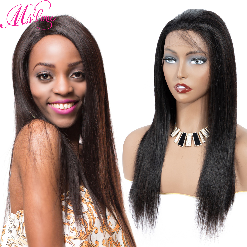 13x1 Lace Hairline Human Hair Wigs Natural Bone Straight Brazilian Wigs For Black Women Natural Color #4 Brown Ms Love Non Remy