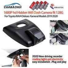 Nova plug and play gravador de vídeo do carro dvr câmera traço cam para toyota rav4 deluxe/modelos gerais 2019 2020 hd 1600p alta qualidade