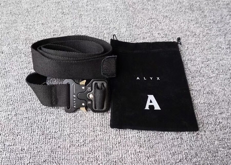 2019 Brand New Style ALYX Belt Women Men Unisex Rollercoaster Metal Button Hiphop Streetwear Alyx A$AP Rocky Canvas Belts 128CM