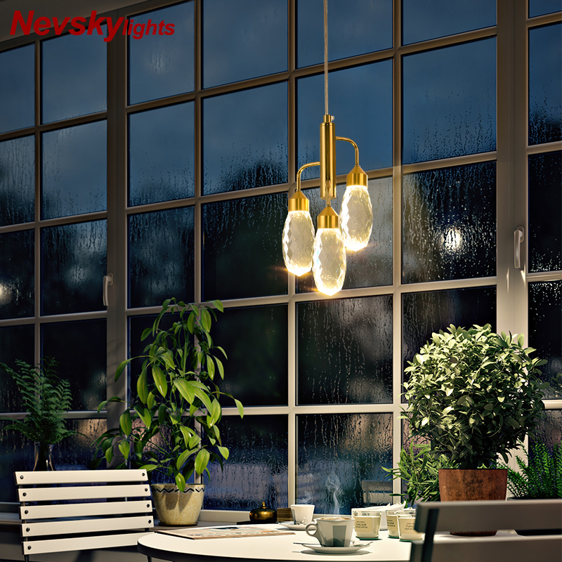 Modern Gold Pendant Light Bedroom Crystal Pendant Lamp Dining Room Led Kitchen Fixture Pendant Lamps Bathroom Crystal Lighting