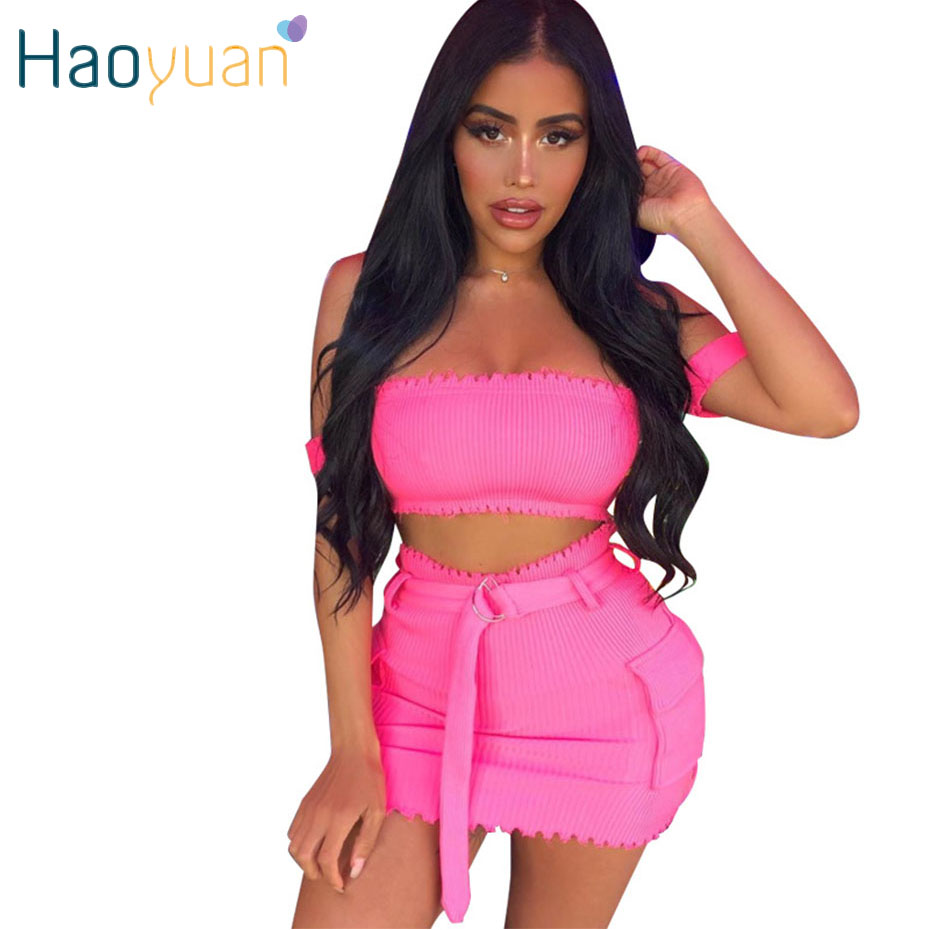 HAOYUAN Two Piece Skirt Set Women Rib Knitted Crop Top And Skirt Fall Festival Clothing 2piece Matching Sets Sexy Club Outfits