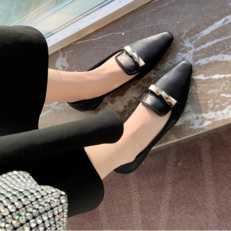 2021 Fashion Women's Shoes New Pointed Toe Flats Quality rench Retro Small Slip On Spring Summer Lady Elegant Single Shoes