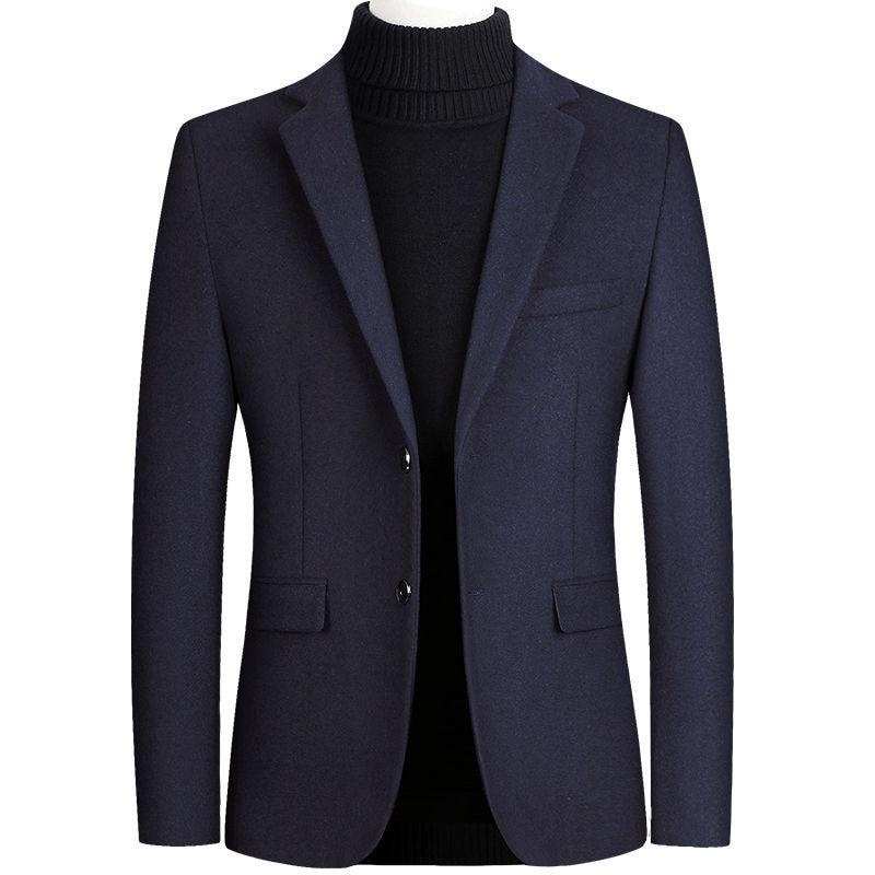 Winter Wool Coat Men Woolen Overcoat Male Blue Blend Coat Male Long Sleeve Top Classic Casual Office Wear Plus Size Clothing 4xl