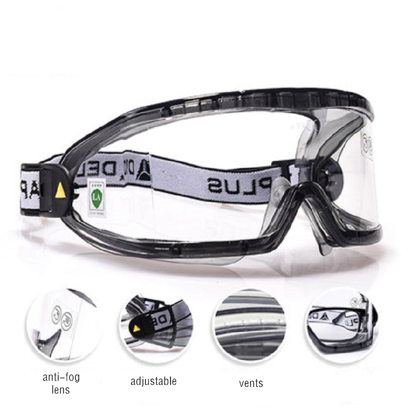 Construction Glasses Safety Eyewear Anti-fog Lens Anti-dust Strong Hig-speed Impact Proof UV-protection With Dust PM2.5 Mask