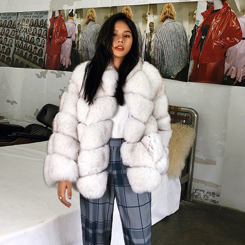 Rf1928B New Arrival Natural Fur Jacket Super Warm Full Pelt Real Fox Fur Coat Long Sleeve High Street Women's Real Fur Coat