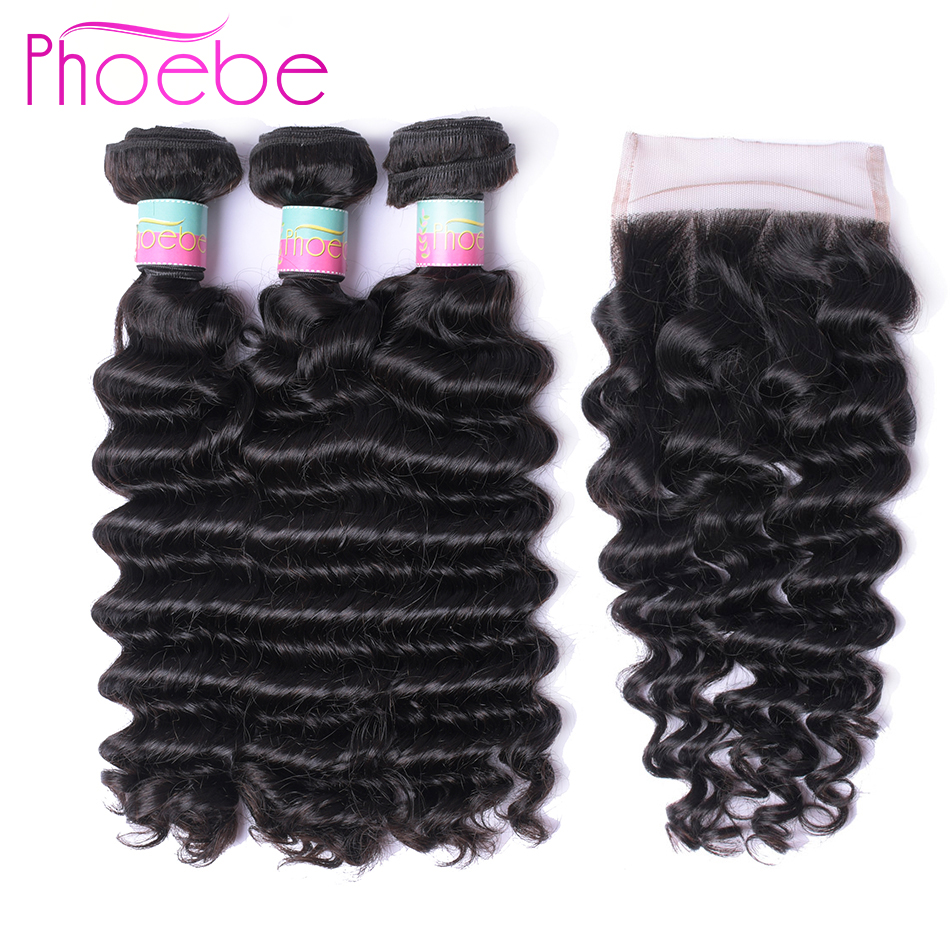Phoebe Hair Pre colored 4 Pcs Malaysia Natural Color Deep Wave 3 Bundles With 4 4