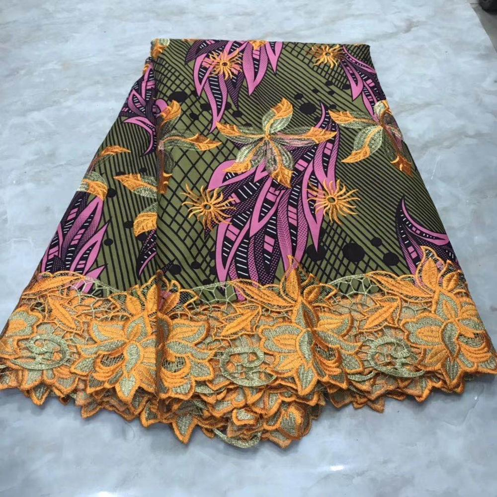 2020 Latest Ankara Wax Lace Fabric Cotton Embroideried Wax With Lace Materials High Quality Ghana African Fabric Wax Print Batik