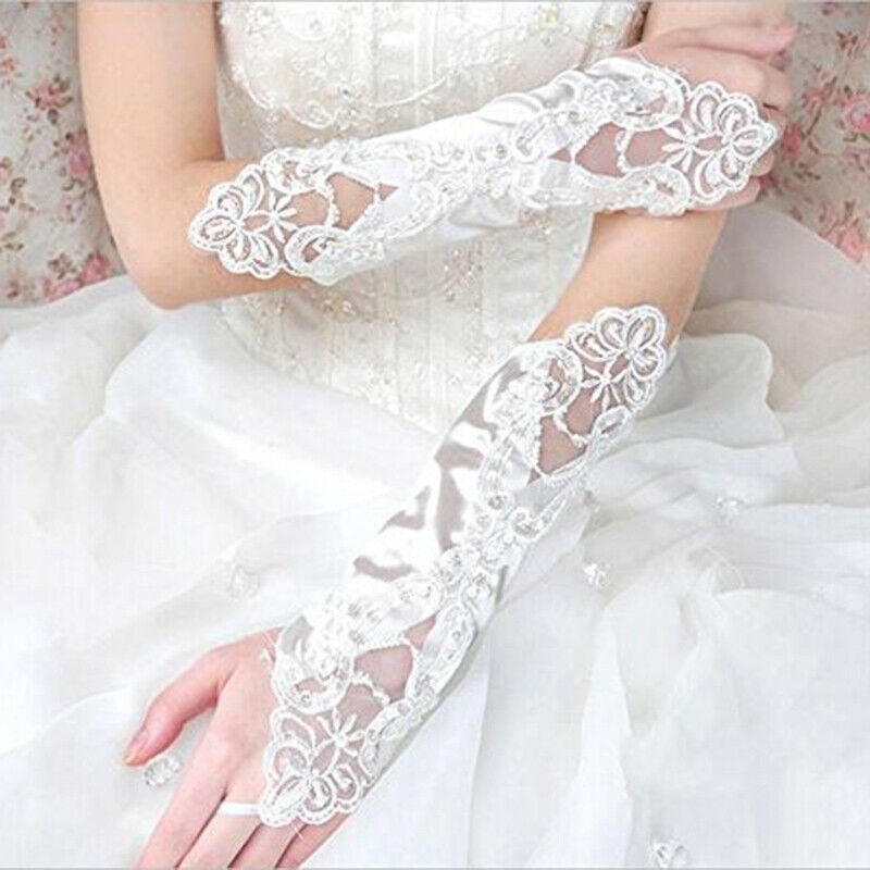 White Black Lace Long Glove Stretch Satin Fingerless Wedding Gloves For Women Bride Lace Gloves Luva De Noiva Wedding Accessory