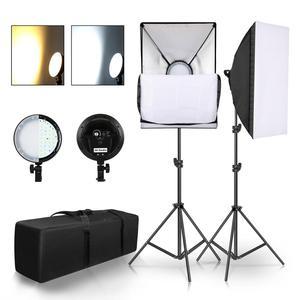 Image 1 - Chụp Ảnh Đèn LED Đính Hạt Softbox Bộ Đèn Kit 2 Màu Ánh Sáng Liên Tục Mềm Hộp 45W Hệ Thống Phụ Kiện Chụp Ảnh Phòng Thu video