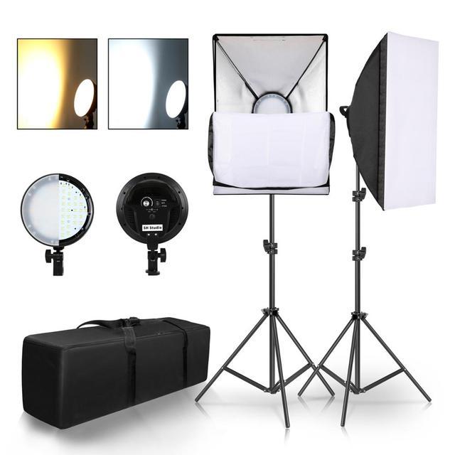 Chụp Ảnh Đèn LED Đính Hạt Softbox Bộ Đèn Kit 2 Màu Ánh Sáng Liên Tục Mềm Hộp 45W Hệ Thống Phụ Kiện Chụp Ảnh Phòng Thu video