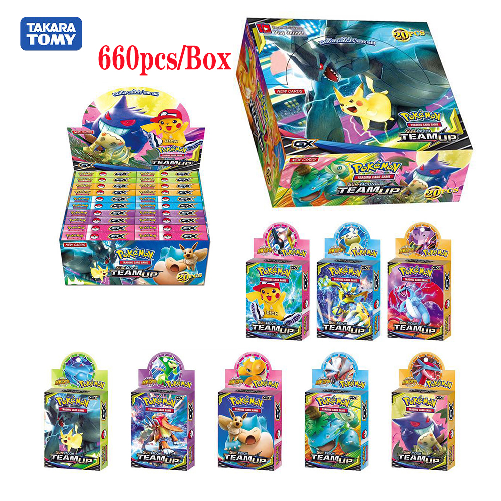 660pcs Newest Pokemon Monster Pet Sun & Moom Team Up GX Booster Display Box Trading Cards Game Gift Toy For Childrens