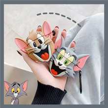 3D Smile Cat Cute Cartoon Jerry Mouse Earphone Case For Airpods 1 2 Silicone Headphone Cover Air Pods Cases Accessories