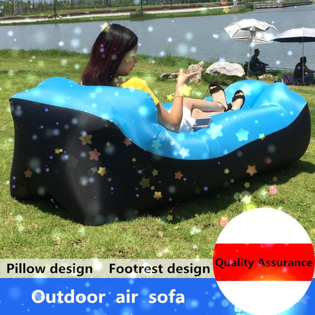 Lazy Pillow Waterproof Lazy Inflatable Sofa Portable outdoor beach air sofa bed Sleeping bag bed Oxford cloth 240*70cm 5