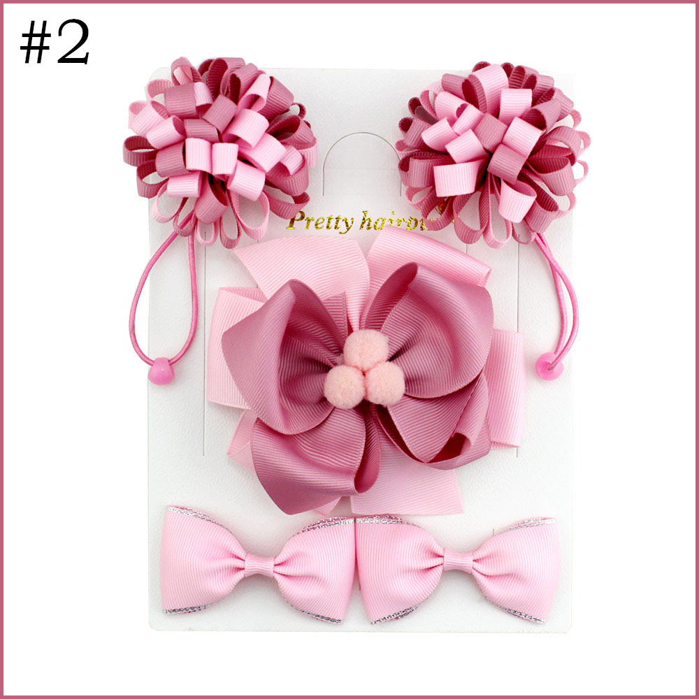 free shipping 30set  hair clip set Cute Hair Accessories Girl round loopy elastic bands  headwear Bow pompom Hairpin hair ring E