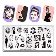 Beautybigbang futuro rock star stamping placas beleza imagem feminina 12*6cm aço inoxidável antigo XL-002 modelo de arte do prego