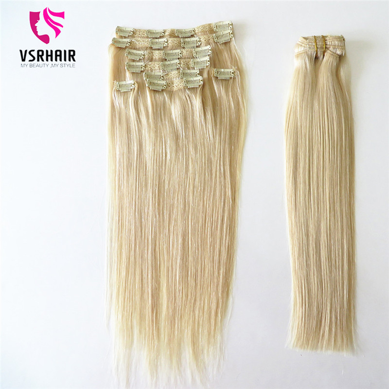 VSR Ends Indian Hair Extensions Clip Hair Machine Made Remy Human Hair Clip Ins 7pcs/set Clip In Hair Extensions