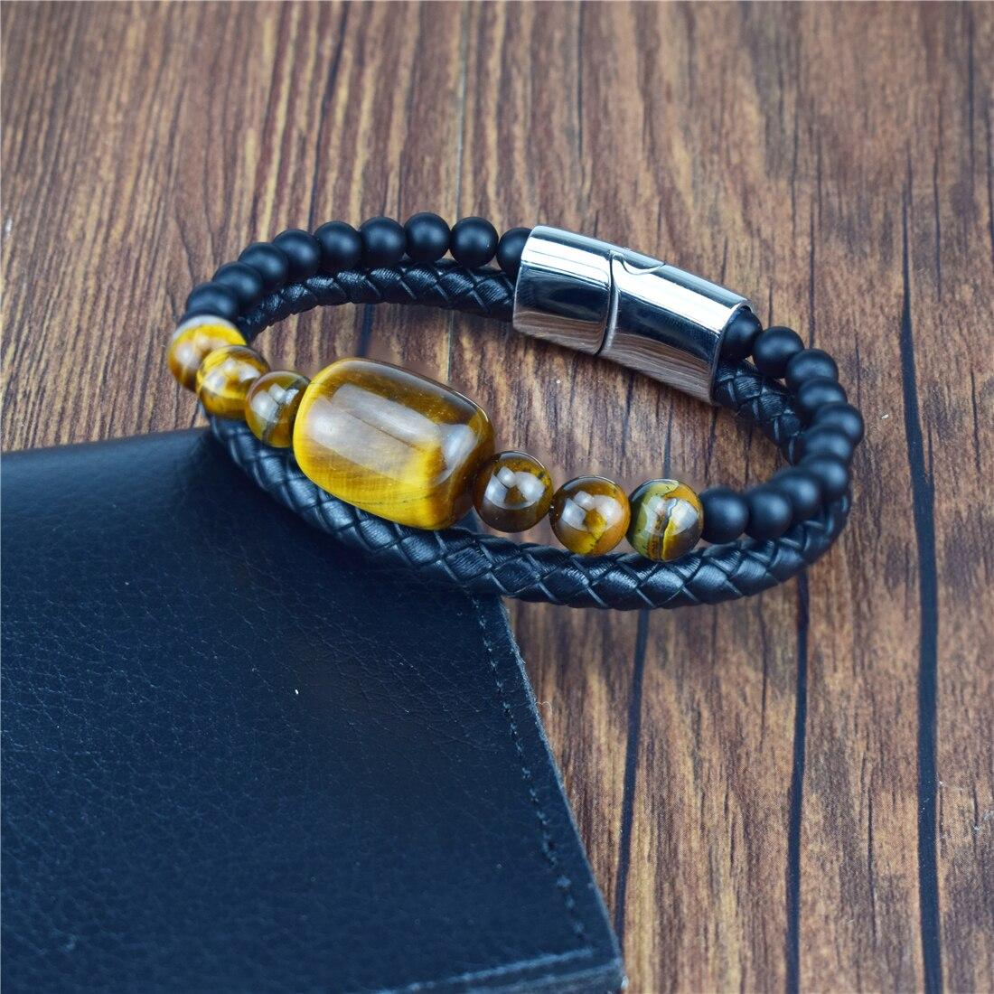 Beaded Bracelet Black Vintage Leather Natural Tiger Eye Stone Beads