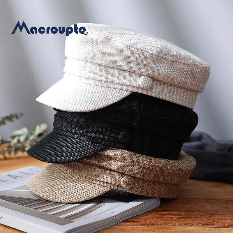 Women's Hat Flat Cap Military Cap Spring Autumn Linen Octagonal Cap Solid Color Flat Top Military Hats Young Student Hat Female