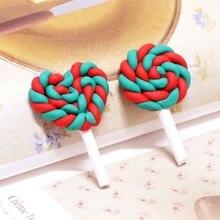 10PCS/Set Cute Lollipops Popular Pottery Rainbow Color Lollipop DIY Hair Accessories For Children Home Decoration