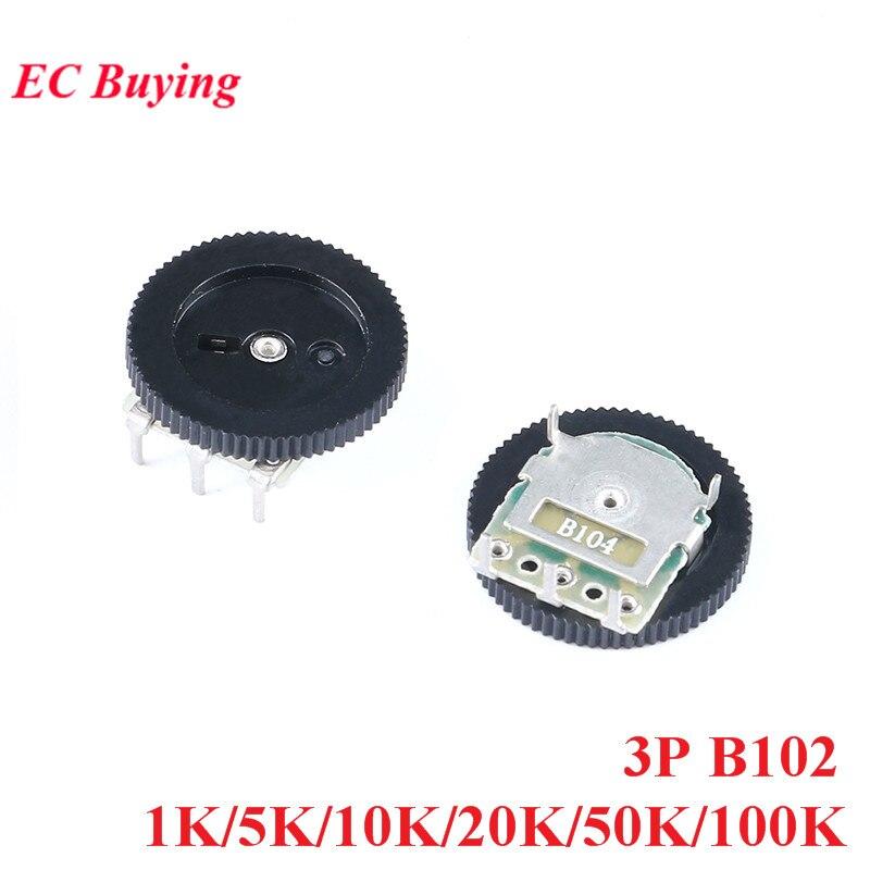 10 шт. 1 K/5 K/10 K/20 K/50 K/100 K B102 потенциометр с шестеренчатым циферблатом один потенциометр 3pin для радио MP3/MP4 переключатель регулировки громкости